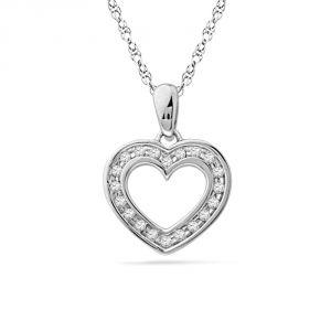 Buy Jpearls 925 Sterling Silver Shiny Heart Diamond Pendant online