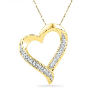 Buy Jpearls 18 Kt Gold Glitzy Heart Diamond Pendant online