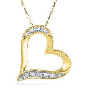 Buy Jpearls 18 Kt Gold Cherish Heart Diamond Pendant online