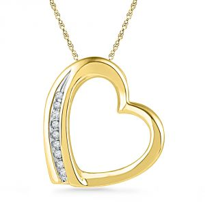 Buy Jpearls 18 Kt Gold Glitterati Heart Diamond Pendant online