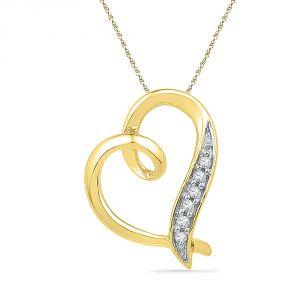 Buy Jpearls 18 Kt Gold Fine Heart Diamond Pendant online
