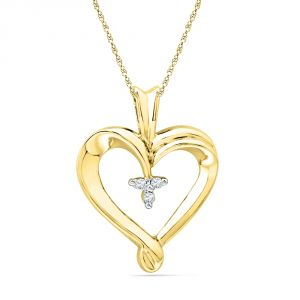 Buy Jpearls 18 Kt Gold Cutie Pie Heart Diamond Pendant online