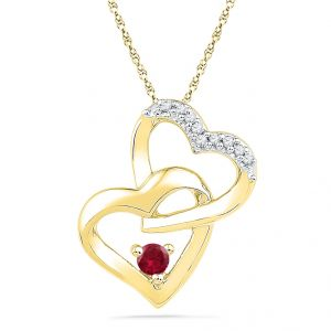 Buy Jpearls 18kt Love Knot Diamond & Ruby Pendant online
