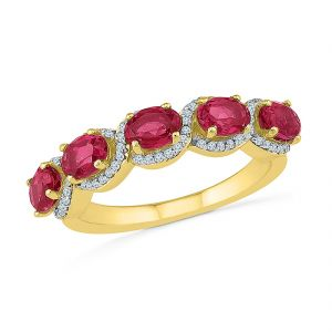 Buy Sri Jagdamba Pearls Cultured Ruby Diamond Finger Ring online