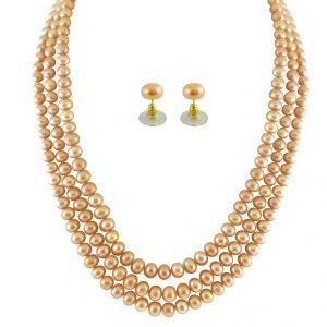 Buy Jpearls 3 String Peach Pearl Set online