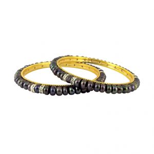 Buy Jpearls Grey Cz Button Pearl Bangles - Sjpjl-492 online