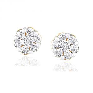 Buy Nirvana Yellow Gold Diamond Earrings Fj21251si-jk18y online