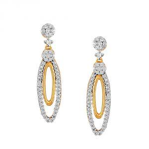 Buy Nirvana Yellow Gold Diamond Earrings Ie655si-jk18y online