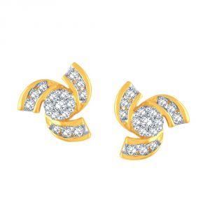 Buy Nirvana Yellow Gold Diamond Earrings Dne459si-jk18y online