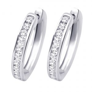 Buy Hoop Silver With Cz Diamond Silver Earring For Womens Ef4081 online