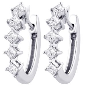 Buy Hoop Silver With Cz Diamond Silver Earring For Womens Ef4092 online