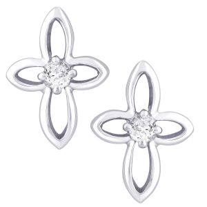 Buy Hoop Silver With Cz Diamond Silver Earring For Womens Ef4745 online