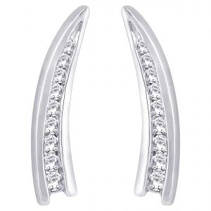 Buy Hoop Silver With Cz Diamond Silver Earring For Womens online