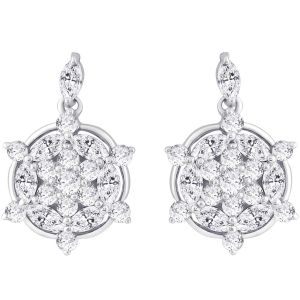 Buy Hoop Silver With Cz Diamond Silver Earring For Women online