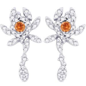 Buy Hoop Silver With Cz Diamond Orange Earring For Womens Ef8774 online
