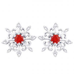 Buy Hoop Silver With Cz Diamond Red Earring For Womens Ef8778 online