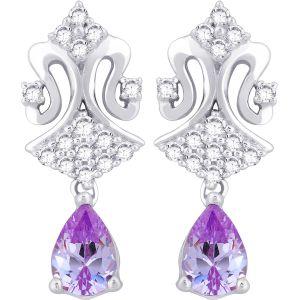 Buy Hoop Silver With Cz Diamond Purple Earring For Womens Ef8819 online
