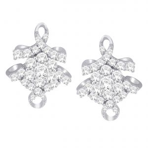 Buy Hoop Silver With Cz Diamond Silver Earring For Womens Ef8946 online
