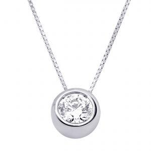 Buy Hoop Silver Cz Diamond Silver Pendant For Women Pf4110 online