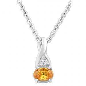 Buy Hoop Silver Cz Diamond Orange Pendant For Women Pf4328 online