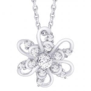 Buy Hoop Silver Cz Diamond Silver Pendant For Women Pf5089 online