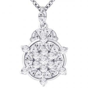 Buy Hoop Silver Cz Diamond Silver Pendant For Women Pf5270 online
