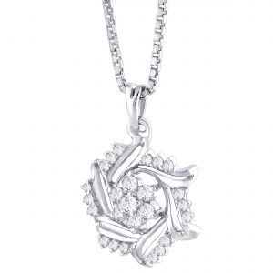 Buy Hoop Silver Cz Diamond Silver Pendant For Women Pf5282 online