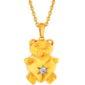 Buy Hoop Silver Cz Diamond Gold Plated Pendant For Women Pf8412 online