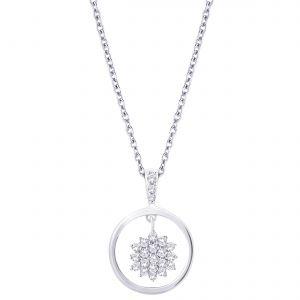Buy Hoop Silver Cz Diamond Silver Pendant For Women Pf8755 online