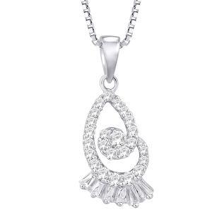 Buy Hoop Silver Cz Diamond Silver Pendant For Women Pf8940 online
