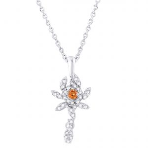 Buy Hoop Silver  Cz Diamond Orange Pendant For Women online