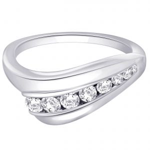 Buy Hoop Silver With Cz Diamond Silver Ring For Womens Rf4205 online