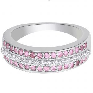 Buy Hoop Silver With Cz Diamond Pink Ring For Womens Rf4973 online