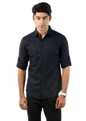 Buy Nick&jess Mens Casual Black Linen Shirt Online | Best Prices ...