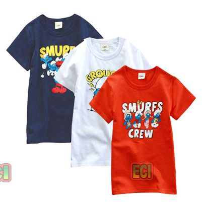 Buy 3 Kids Children T-shirts, Blue White Red Tshirts Round Neck T ...