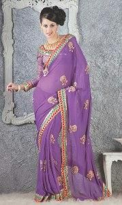 Vivid Orchid Faux Georgette embroidery Sari