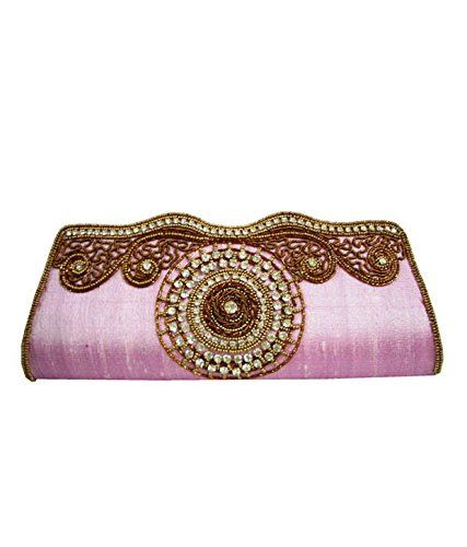 Buy Moksh Pink Silk Clutch For Womens - (code - M737_pk300) online