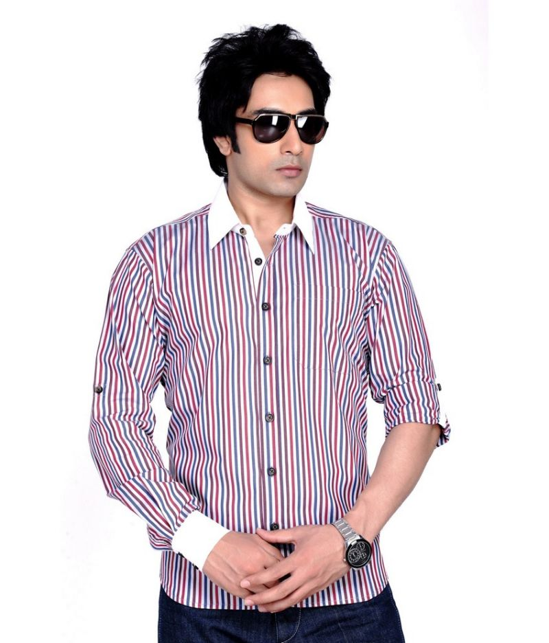 Buy Moksh Striped Casual Cotton Shirt For Mens In Xl online