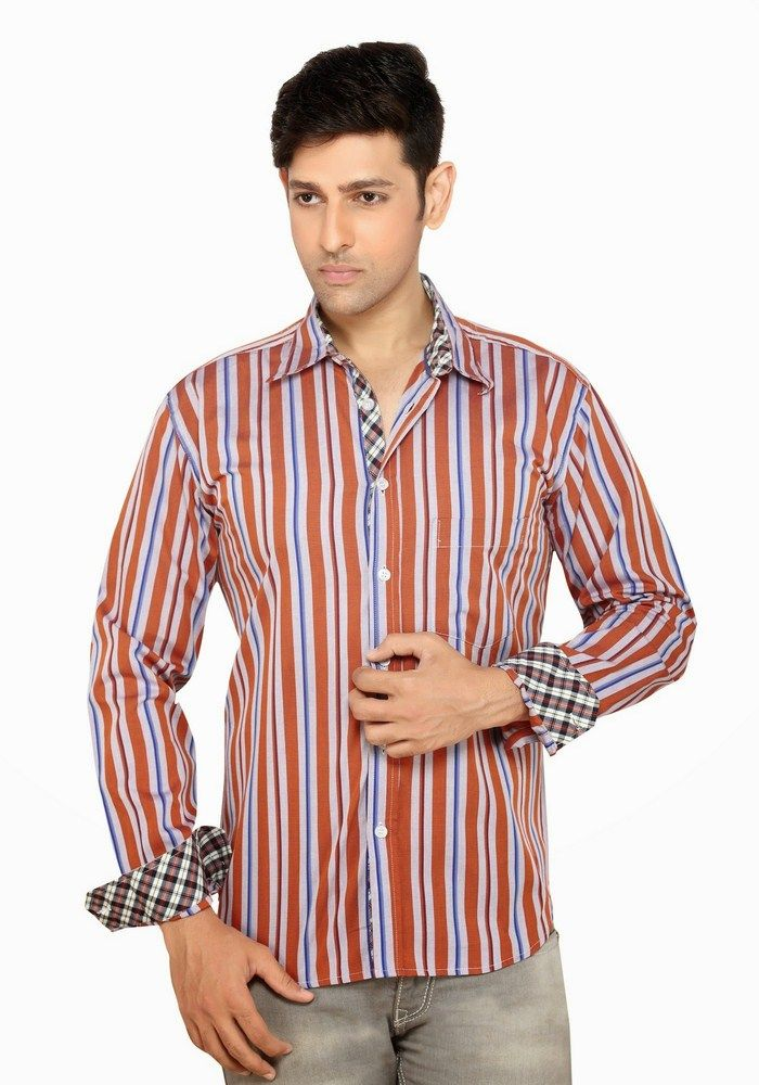 Buy Moksh Striped Casual Cotton Shirt For Mens - (code - V2ims0414ls-175) online