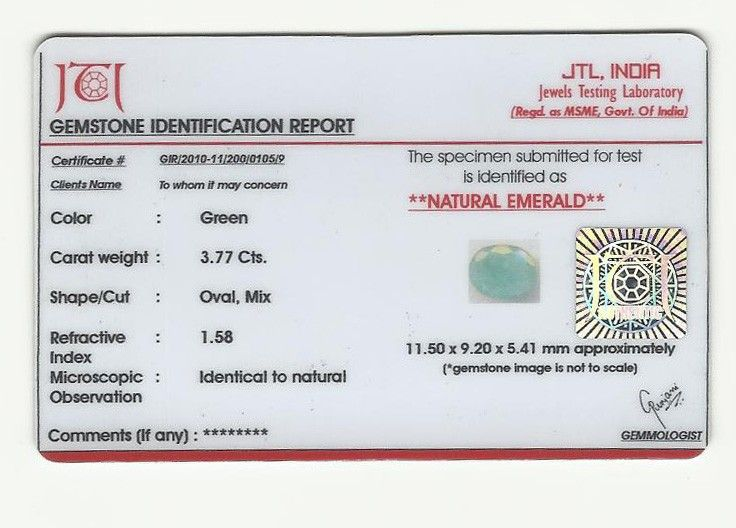 Buy Lab Certified 3.77cts Natural Untreated Emerald/panna online
