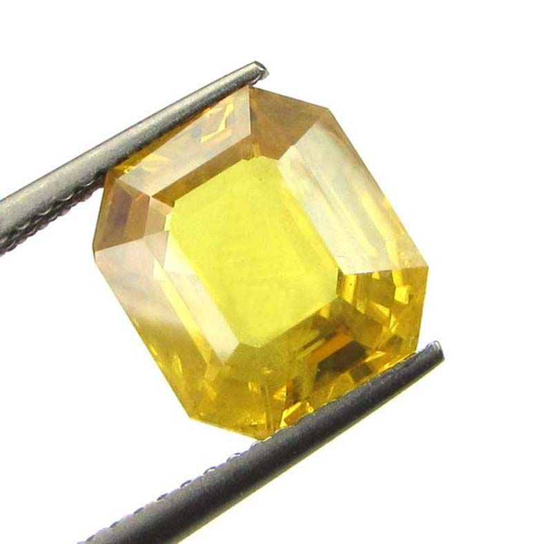 Buy Top Aaaa Grade Lab Certified 5.91cts{6.56 Ratti} Natural Yellow Sapphire/pukhraj online