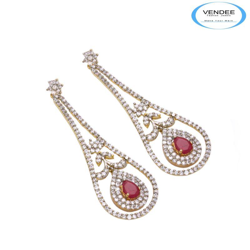 Buy Vendee Ruby Cz Diamond Earrings online