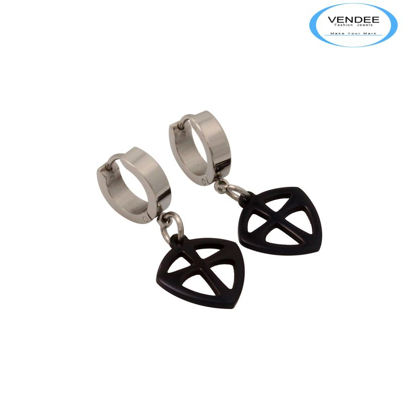 Buy Vendee Black Silver Earrings online