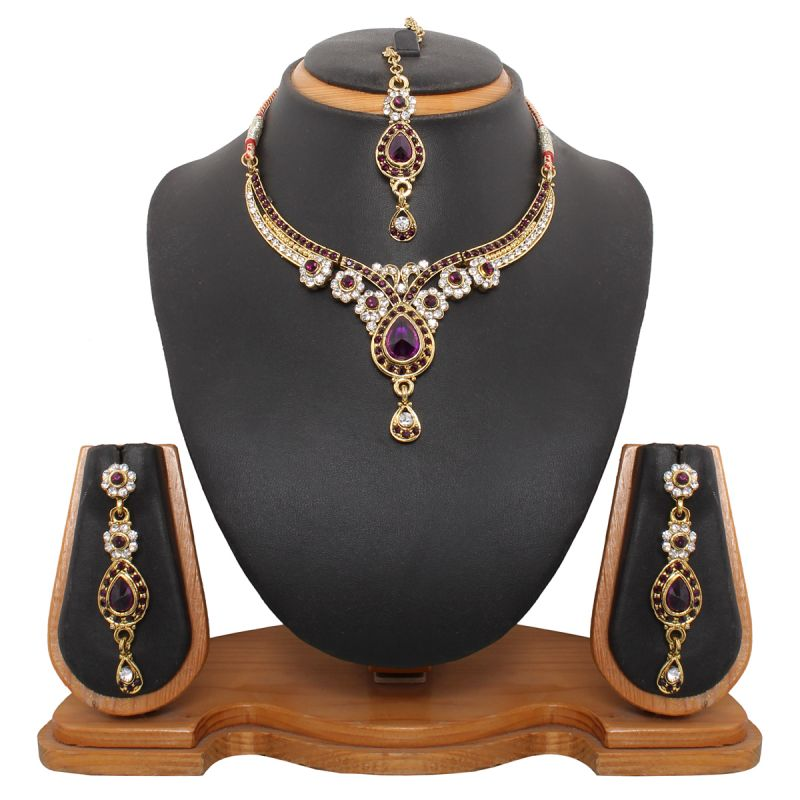 Buy Vendee Fashion Antique Delicate Purple Necklace Set online