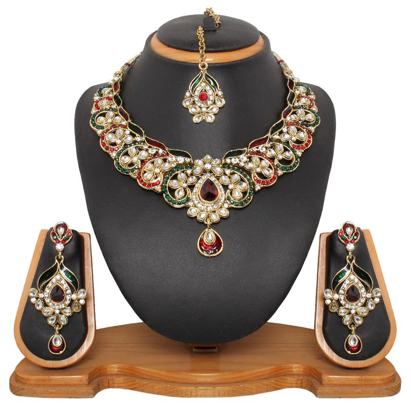 Buy Vendee Fashion Grand Antique Meenakri Necklace Set online