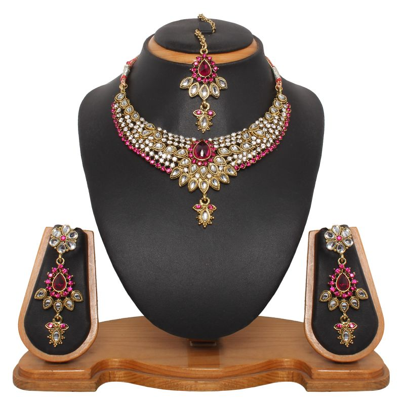 Buy Vendee Fashion Bridal Necklace With Dazzling Flower (8320) online