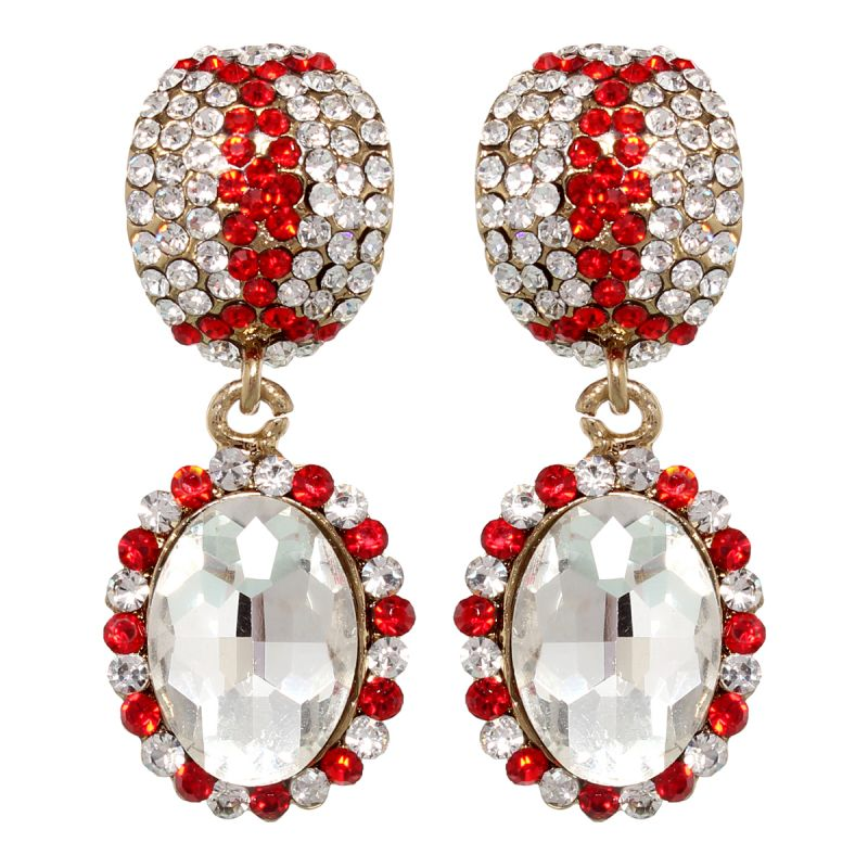 Buy Vendee Fashion Festive Earrings Adorned With Red Diamonds online
