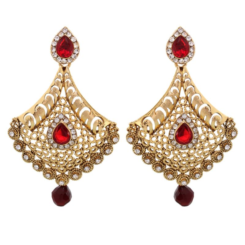 Buy Vendee Fashion Adorn Metal Earrings With Red Drop online