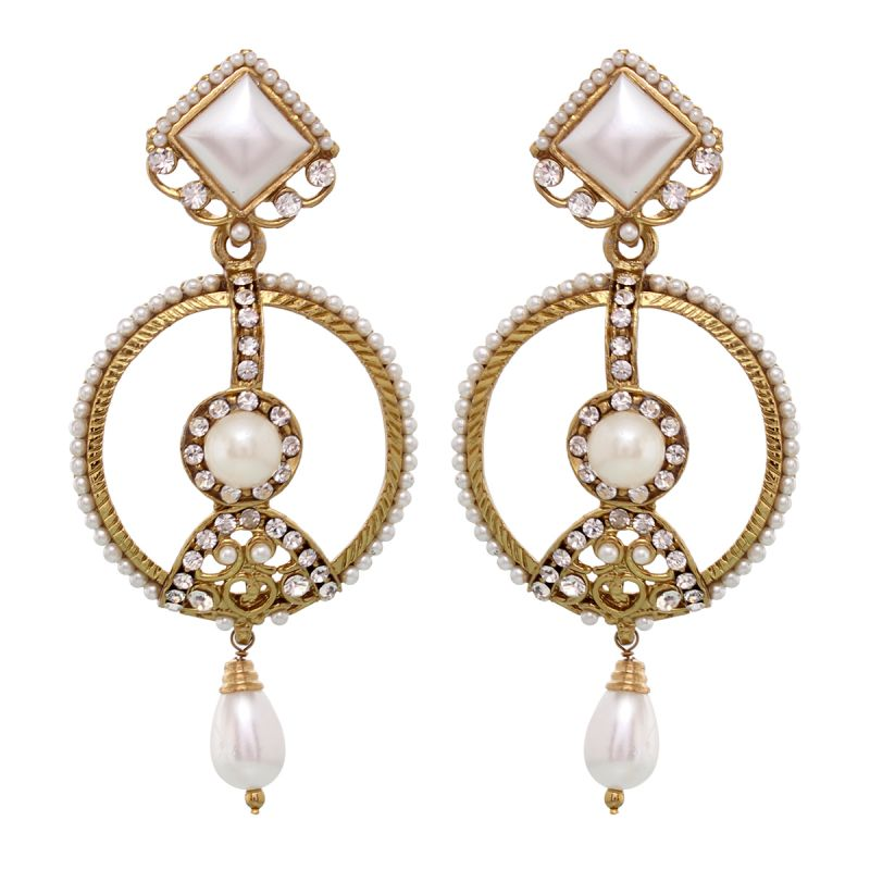 Buy Vendee Fashion Biege Dangler & Drop earrings online