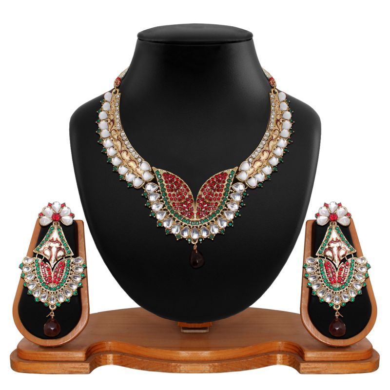 Buy Vendee Fashion Antique Delicate Red & Green Necklace Set 8525 online
